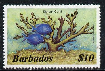 Barbados 1986 Elkhorn Coral $10 (from Marine Life def set) without imprint date, SG 809A