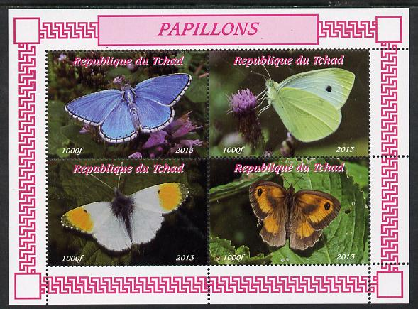 Chad 2013 Butterflies #03 perf sheetlet containing 4 values unmounted mint. Note this item is privately produced and is offered purely on its thematic appeal