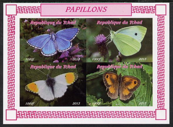 Chad 2013 Butterflies #03 imperf sheetlet containing 4 values unmounted mint. Note this item is privately produced and is offered purely on its thematic appeal