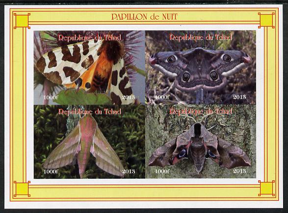 Chad 2013 Moths #1 imperf sheetlet containing 4 values unmounted mint. Note this item is privately produced and is offered purely on its thematic appeal