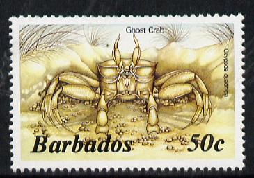 Barbados 1986 Ghost Crab 50c (from Marine Life def set) without imprint date, SG 803A, stamps on marine-life