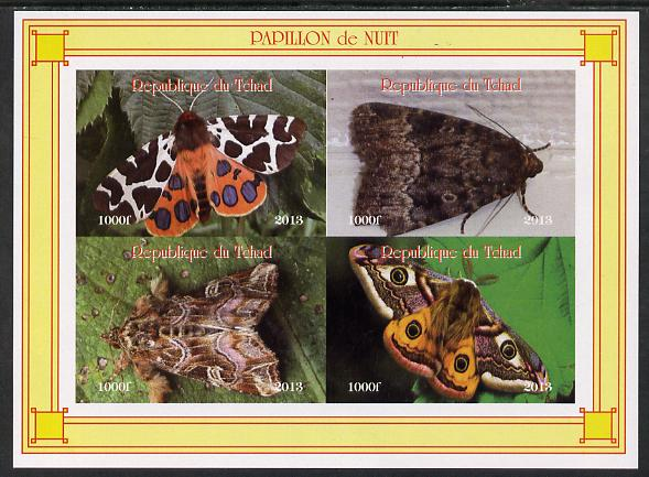 Chad 2013 Moths #3 imperf sheetlet containing 4 values unmounted mint. Note this item is privately produced and is offered purely on its thematic appeal