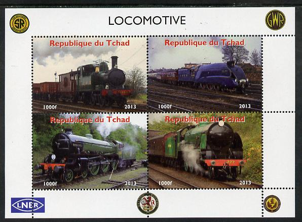 Chad 2013 Locomotives #1 perf sheetlet containing 4 values unmounted mint. Note this item is privately produced and is offered purely on its thematic appeal