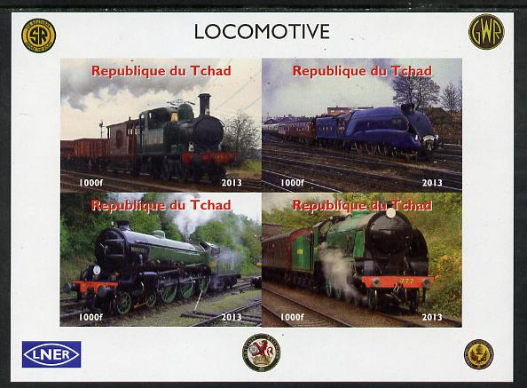 Chad 2013 Locomotives #1 imperf sheetlet containing 4 values unmounted mint. Note this item is privately produced and is offered purely on its thematic appeal