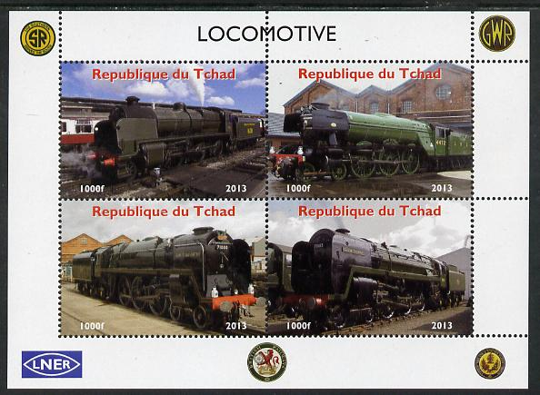 Chad 2013 Locomotives #2 perf sheetlet containing 4 values unmounted mint. Note this item is privately produced and is offered purely on its thematic appeal