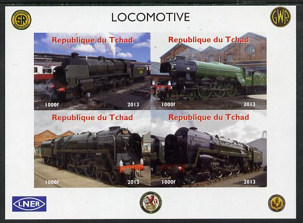 Chad 2013 Locomotives #2 imperf sheetlet containing 4 values unmounted mint. Note this item is privately produced and is offered purely on its thematic appeal