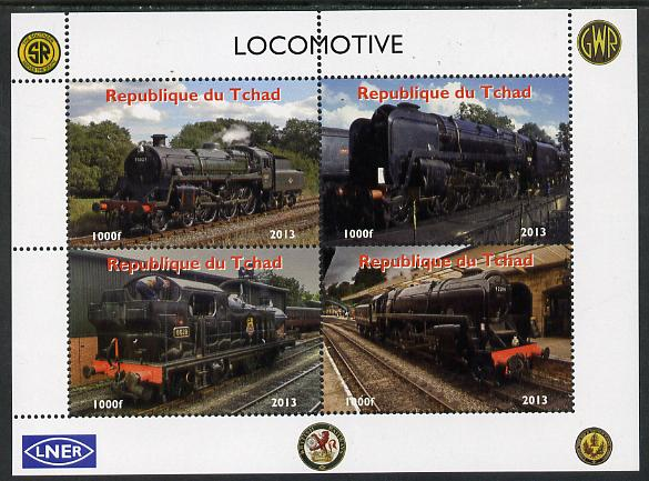 Chad 2013 Locomotives #3 perf sheetlet containing 4 values unmounted mint. Note this item is privately produced and is offered purely on its thematic appeal