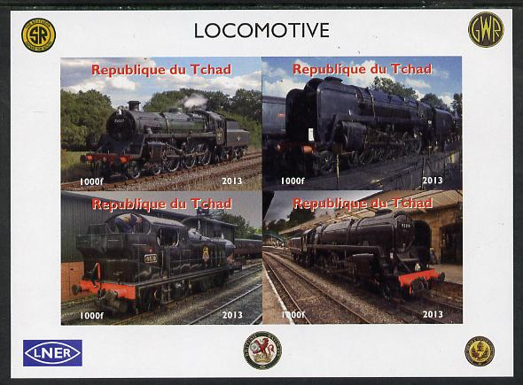 Chad 2013 Locomotives #3 imperf sheetlet containing 4 values unmounted mint. Note this item is privately produced and is offered purely on its thematic appeal