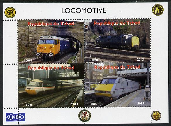 Chad 2013 Locomotives #4 perf sheetlet containing 4 values unmounted mint. Note this item is privately produced and is offered purely on its thematic appeal. .