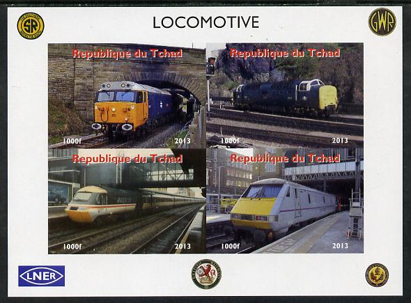 Chad 2013 Locomotives #4 imperf sheetlet containing 4 values unmounted mint. Note this item is privately produced and is offered purely on its thematic appeal. .