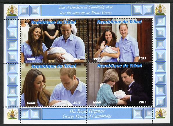 Chad 2013 The Royal Baby #4 perf sheetlet containing 4 values unmounted mint. Note this item is privately produced and is offered purely on its thematic appeal. .