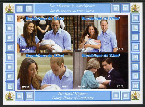 Chad 2013 The Royal Baby #4 imperf sheetlet containing 4 values unmounted mint. Note this item is privately produced and is offered purely on its thematic appeal. .