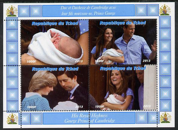 Chad 2013 The Royal Baby #6 perf sheetlet containing 4 values unmounted mint. Note this item is privately produced and is offered purely on its thematic appeal. .