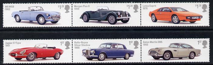 Great Britain 2013 British Auto Legends set of 6 (2 strips of 3) unmounted mint