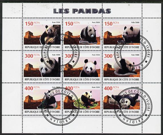 Ivory Coast 2009 Pandas perf sheetlet containing 9 values fine cto used