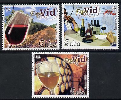 Cuba 2002 Expovid Wine Festival set of 3 fine cto used SG 4573-75