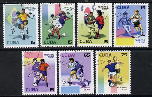 Cuba 2002 Football World Cup short set of 7 fine cto used SG 4559-65