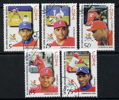 Cuba 2002 Baseball Championship set of 5 fine cto used SG 4607-11