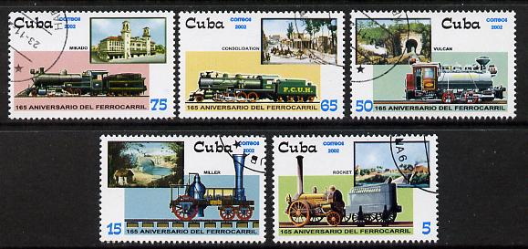 Cuba 2002 Steam Locomotives set of 5 fine cto used SG 4613-17