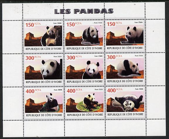 Ivory Coast 2009 Pandas perf sheetlet containing 9 values unmounted mint