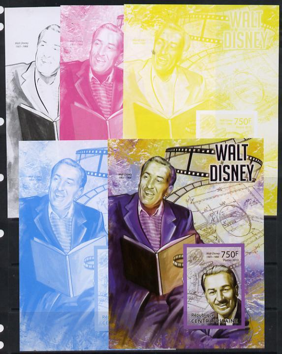 Central African Republic 2013 Walt Disney #1 m/sheet - the set of 5 imperf progressive proofs comprising the 4 individual colours plus all 4-colour composite, unmounted mint