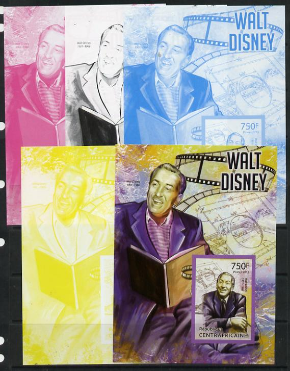 Central African Republic 2013 Walt Disney #2 m/sheet - the set of 5 imperf progressive proofs comprising the 4 individual colours plus all 4-colour composite, unmounted mint