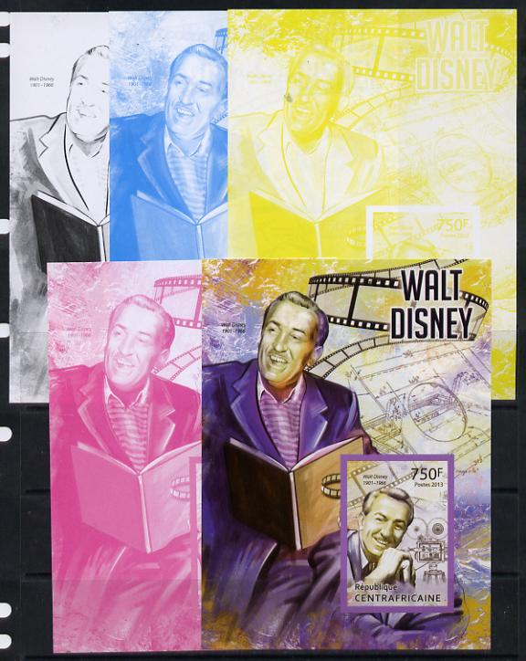 Central African Republic 2013 Walt Disney #3 m/sheet - the set of 5 imperf progressive proofs comprising the 4 individual colours plus all 4-colour composite, unmounted mint