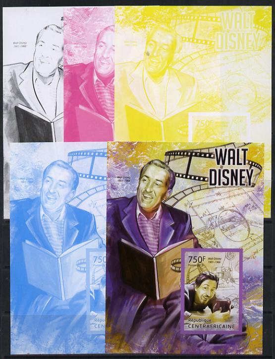 Central African Republic 2013 Walt Disney #4 m/sheet - the set of 5 imperf progressive proofs comprising the 4 individual colours plus all 4-colour composite, unmounted mint