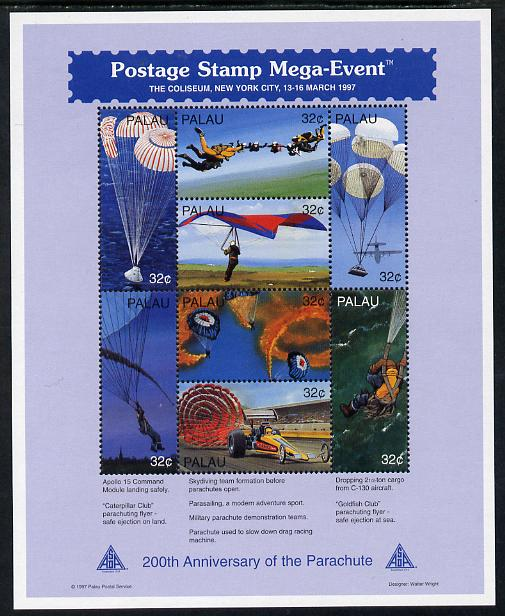 Palau 1994 Bicentenary of the Parachute (a) Postage perf sheetlet containing set of 8 unmounted mint SG 1157-54