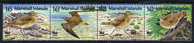 Marshall Islands 1997 WWF - Bristle-Thighed Curlew perf strip of 4 unmounted mint SG 826-29