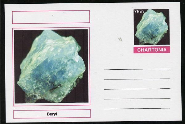 Chartonia (Fantasy) Minerals - Beryl postal stationery card unused and fine