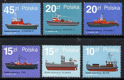 Poland 1988 Fire Boats set of 6 unmounted mint SG 3197-3202, Mi 3184-89*