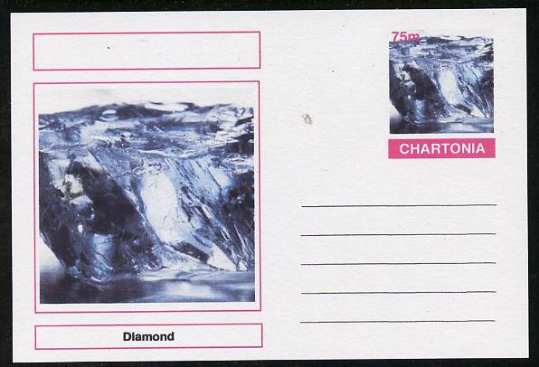 Chartonia (Fantasy) Minerals - Diamond postal stationery card unused and fine, stamps on minerals