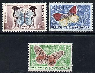 Malagasy Republic 1960 Butterflies 30c, 40c & 50c values from the def set (SG 7-9) unmounted mint*