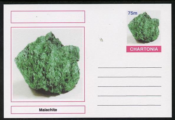 Chartonia (Fantasy) Minerals - Malachite postal stationery card unused and fine, stamps on minerals