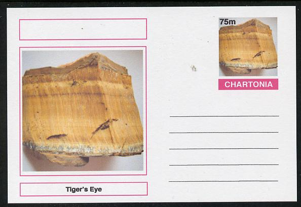 Chartonia (Fantasy) Minerals - Tiger's Eye postal stationery card unused and fine, stamps on minerals