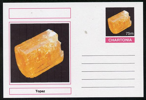 Chartonia (Fantasy) Minerals - Topaz postal stationery card unused and fine