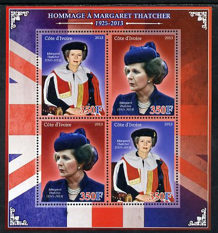 Ivory Coast 2013 Tribute to Margaret Thatcher perf sheetlet containing 4 values unmounted mint