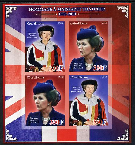 Ivory Coast 2013 Tribute to Margaret Thatcher imperf sheetlet containing 4 values unmounted mint