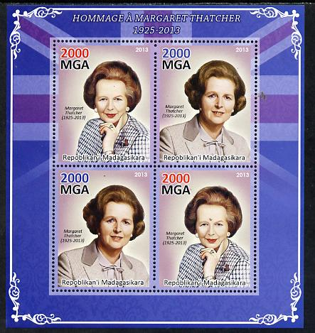 Madagascar 2013 Tribute to Margaret Thatcher perf sheetlet containing 4 values unmounted mint