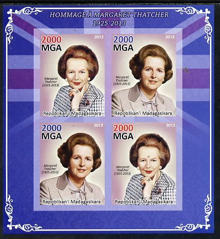 Madagascar 2013 Tribute to Margaret Thatcher imperf sheetlet containing 4 values unmounted mint