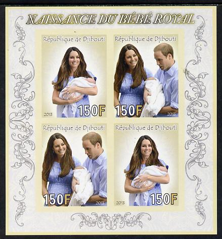 Djibouti 2013 Birth of Royal Baby (George) imperf sheetlet containing 4 values unmounted mint