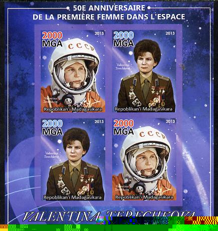 Madagascar 2013 50th Anniversary of First Woman in Space imperf sheetlet containing 4 values unmounted mint