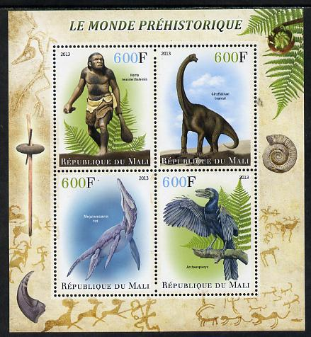 Mali 2013 The Prehistoric World perf sheetlet containing 4 values unmounted mint