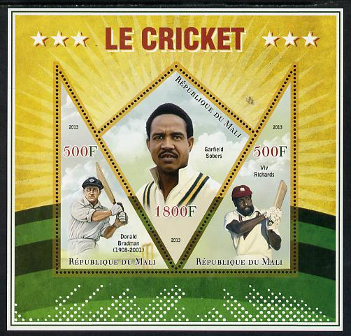 Mali 2013 Cricket perf sheetlet containing 2 triangular & one diamond shaped values unmounted mint