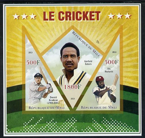 Mali 2013 Cricket imperf sheetlet containing 2 triangular & one diamond shaped values unmounted mint