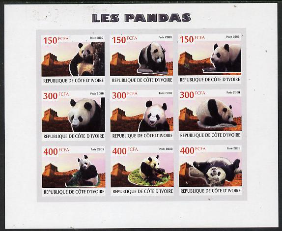 Ivory Coast 2009 Pandas imperf sheetlet containing 9 values unmounted mint