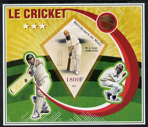 Mali 2013 Cricket imperf s/sheet containing one diamond shaped value unmounted mint
