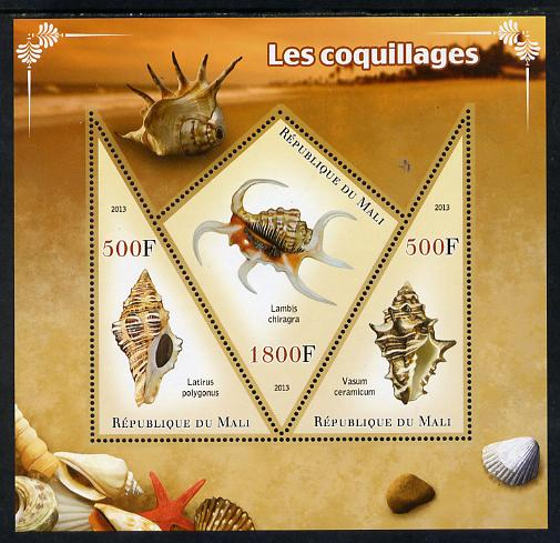 Mali 2013 Shells perf sheetlet containing 2 triangular & one diamond shaped values unmounted mint