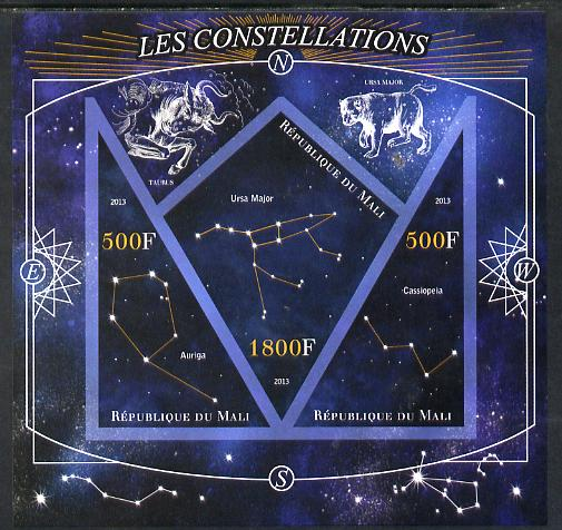 Mali 2013 Constellations imperf sheetlet containing 2 triangular & one diamond shaped values unmounted mint